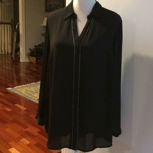 Christopher Banks Tunic Black Semi Sheer L EUC